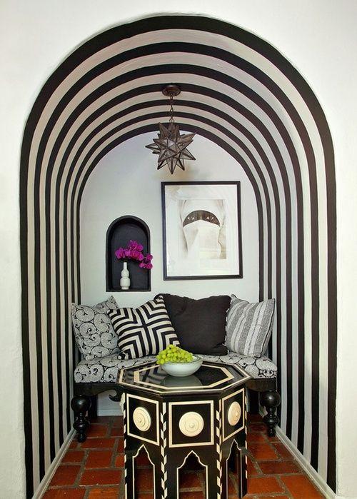 black + white bohemian chic home style