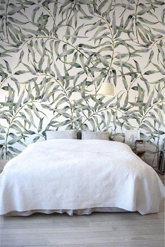 Eucalyptus Leaf Removable Wallpaper Jungle Temporary Etsy Renter Friendly Wallpaper Temporary Wallpaper Removable Wallpaper