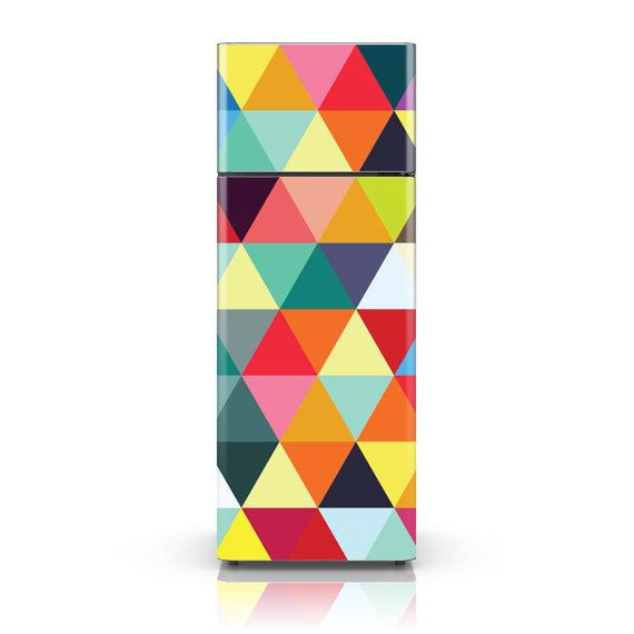 Fridge Decal - Colourful Triangles - Fridge Skin Vinyl Sticker Decal - HD Print - Fully Customizable Wanting to redecorate your kitchen but don't know where to start? Your fridge of course! Reclaim that blank space and use it as your canvas. Make your fridge cool even from the outside!