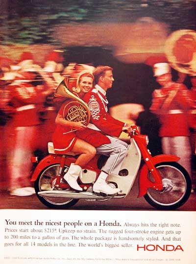 1966 Honda Motor Scooter vintage ad. You meet the nicest people on a Honda. The rugged four stroke engine gets up to 200 miles to a gallon of gas. The world's biggest seller. Original MSRP $215.