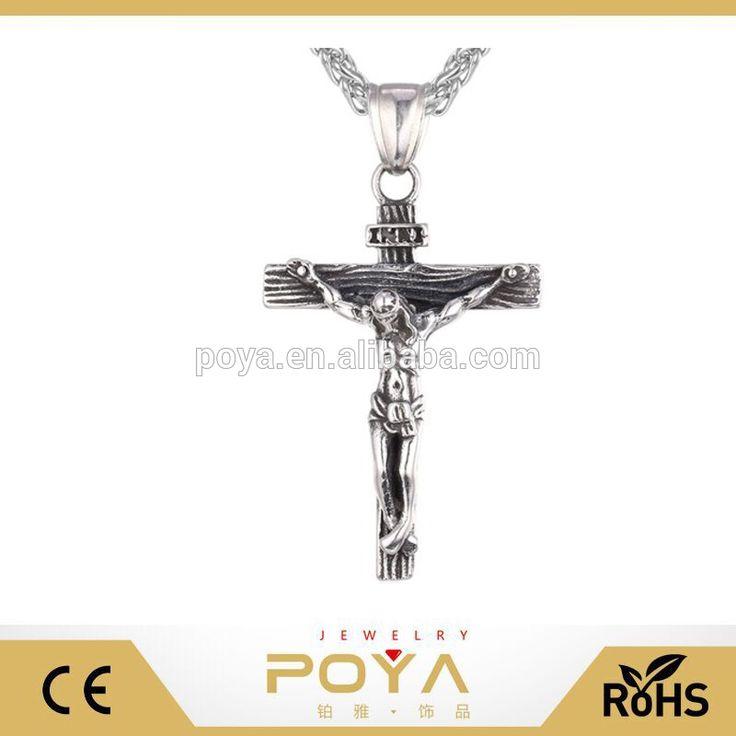 POYA Jewelry Men's Stainless Steel Jesus Christ Cross Crucifix Pendant Necklace