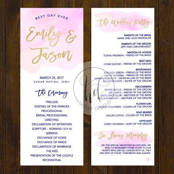 Elegant Wedding Program By HadleyCustomDesigns