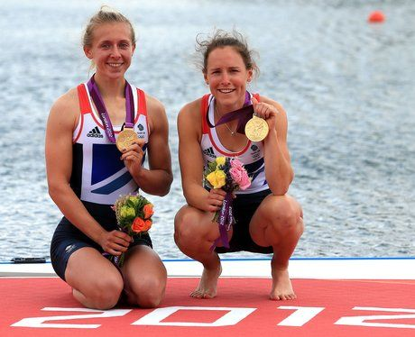 Great Britain's Sophie Hosking and Katherine Copeland win gold in the Women's Double Sculls event.