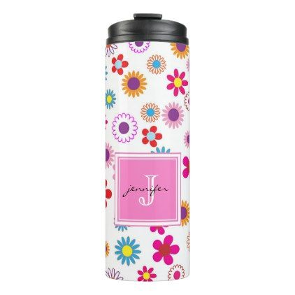 Pink blue abstract floral summer monogram name thermal tumbler - floral gifts flower flowers gift ideas