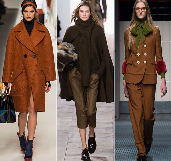 Fall/ Winter 2015-2016 Color Trends: Shades of Brown    the fall/ winter 2015-2016 color trends also bring all the possible shades of brown, from chocolate brown and rust to milder brown tones bringing warmth and comfort to your winter dressing.