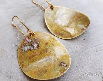 Seed LARGE earrings / Oxidized brass / Gold plated hooks