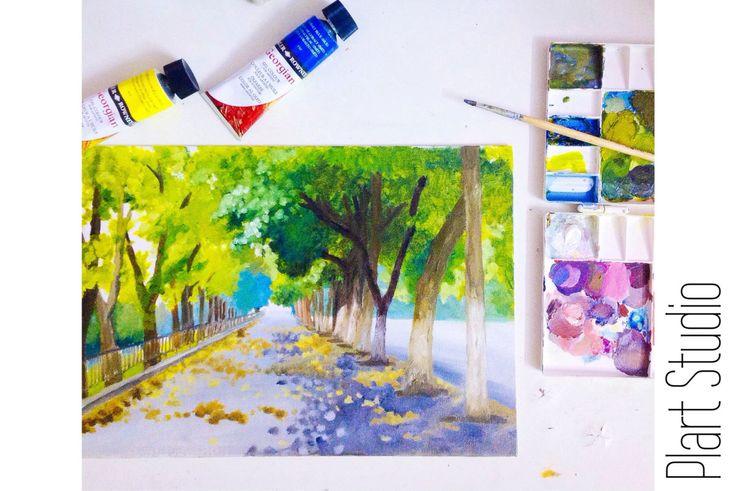 Sidewalk with green trees in Kim Ma street Hanoi summer original oil painting on canvas board 25x40cm by PlartStudio on Etsy
