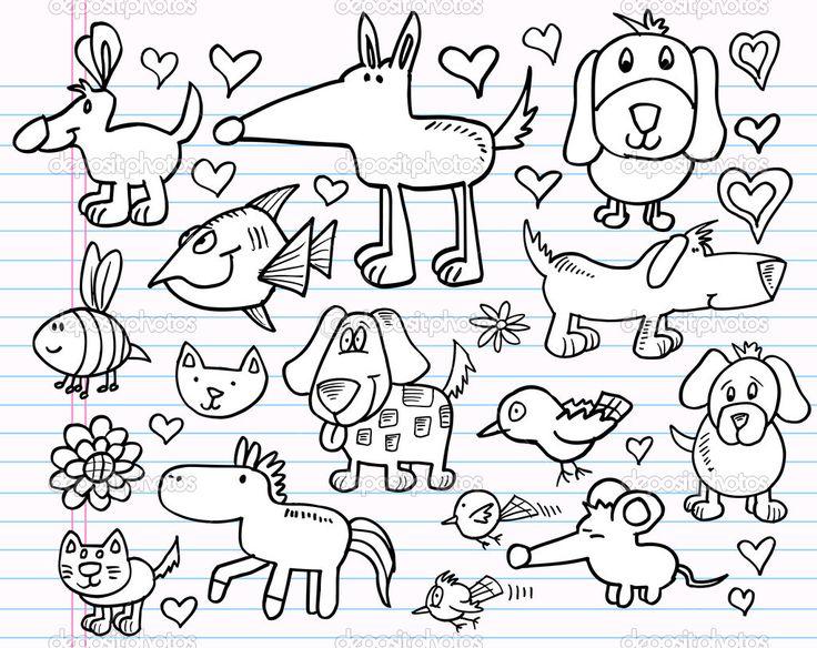 animal doodles | Notebook Doodle Sketch Animal Design Elements Vector Illustration Set ...