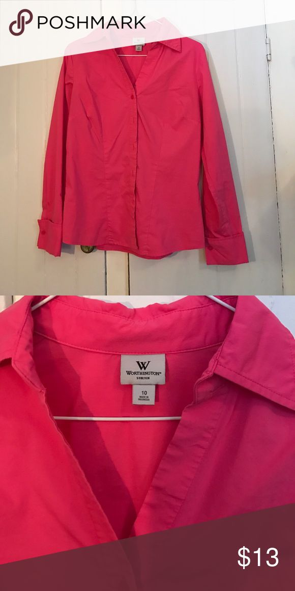 Pink dress shirt Long sleeve pink dress shirt size 10 Worthington Tops Button Down Shirts