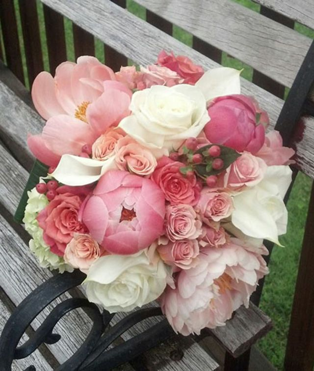 Pinks And White Bouquet Coral Blush Pink And Gold Winter Wedding Inspiration