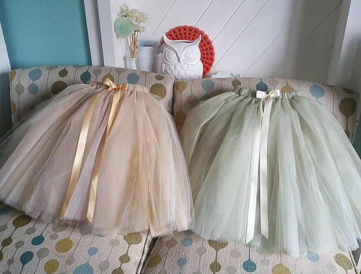 Champagne and Gold or Willow and Ivory. Flower girl tulle skirts by PrincessDoodleBeans on Etsy