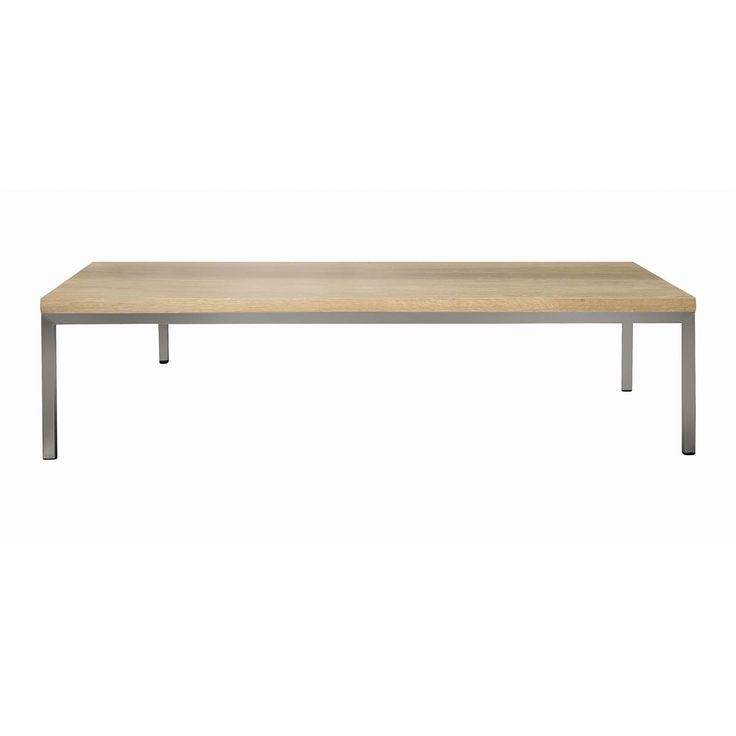Coffee table solid raw oak top on brushed stainless steel frame – 21ct/oak
