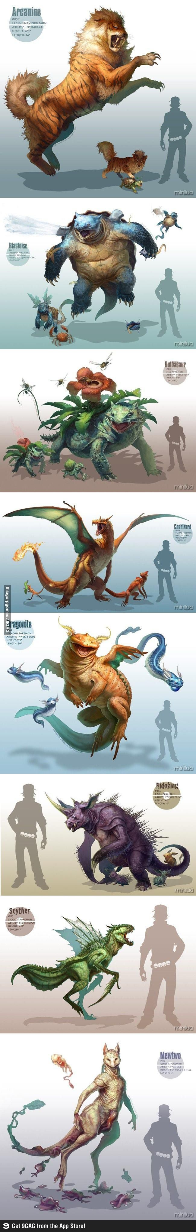 I don't think these size comparisons are accurate to the pokedex but I still think it's awesome.