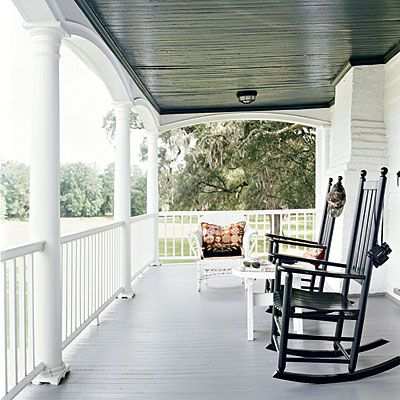 Rocking chairs on the porch.