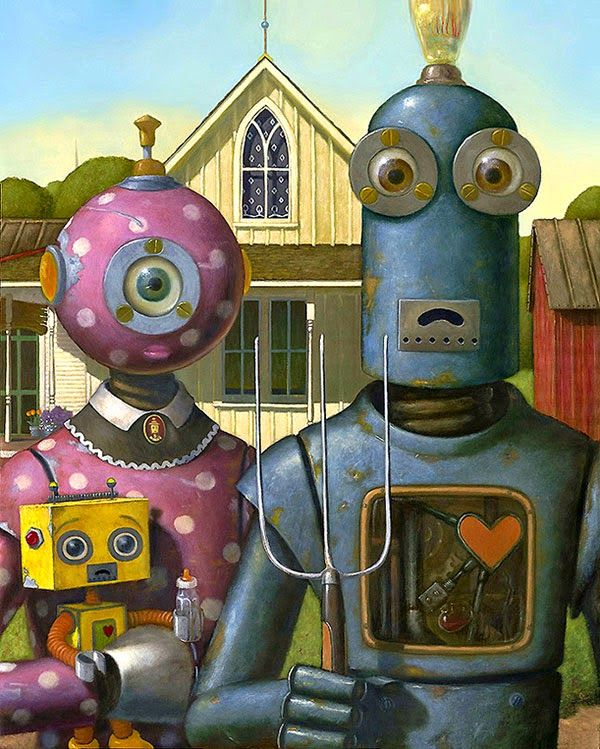 "Robot version of ""American Gothic"" painted by Geoffrey Gersten - from Faith is Torment"