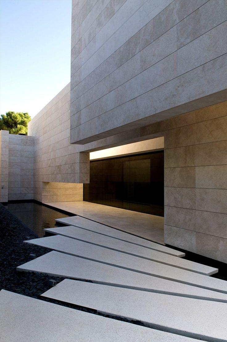 Stone, light, glass, water, geometry, contrast, depth, texture
