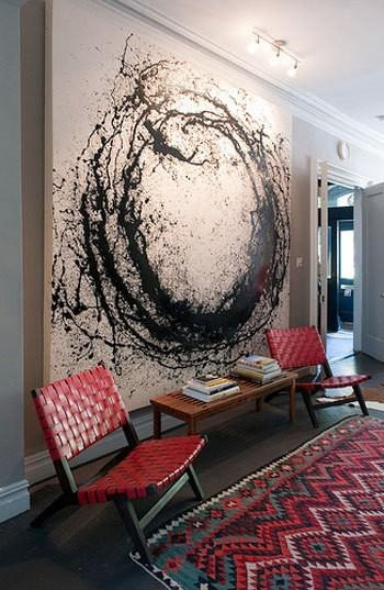 black, white, leather, rug, great for a long hallway or awkward wall