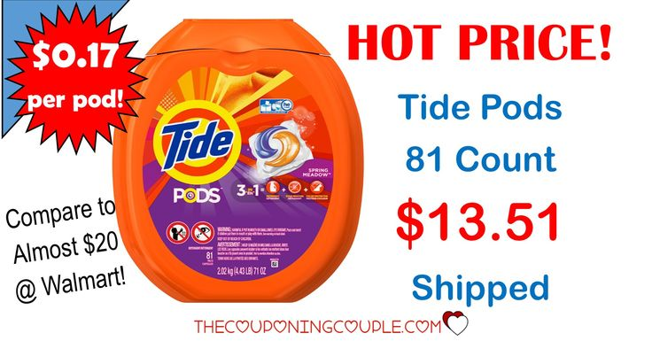 ***HOT TIDE DEAL ~ Tide Pods 81 count for only $13.51 SHIPPED***  HOT PRICE!!*** (Compare to $19.97 at Target and Walmart!) Click the Picture below to get all of the details ► http://www.thecouponingcouple.com/tide-pods-deal/  Help us out and use the SHARE button below the Picture to SHARE this post with your Family and Friends!  Visit us at http://www.thecouponingcouple.com for more great posts!