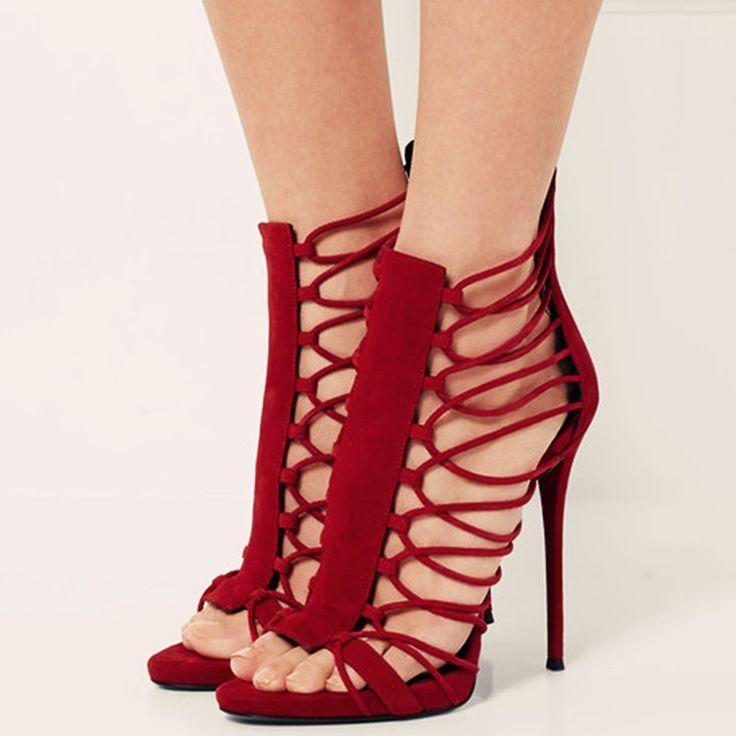Shoespie Red Open Toe Back Zipper Stiletto Heels