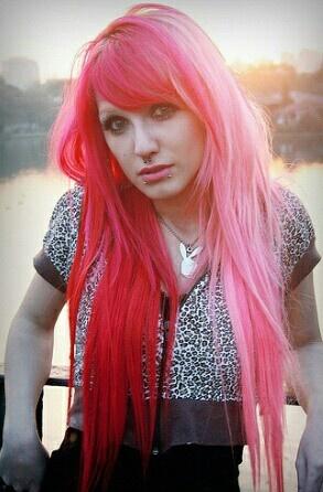 Half red half pink hair   Tumblr   Hair   Pinterest