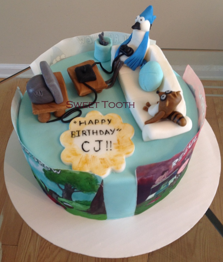 9in Regular Show Birthday Cake For A Little Boy That Loves