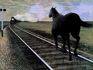 Horse and Train by Alex Colville, born 1920, Canadian Magic Realist painter