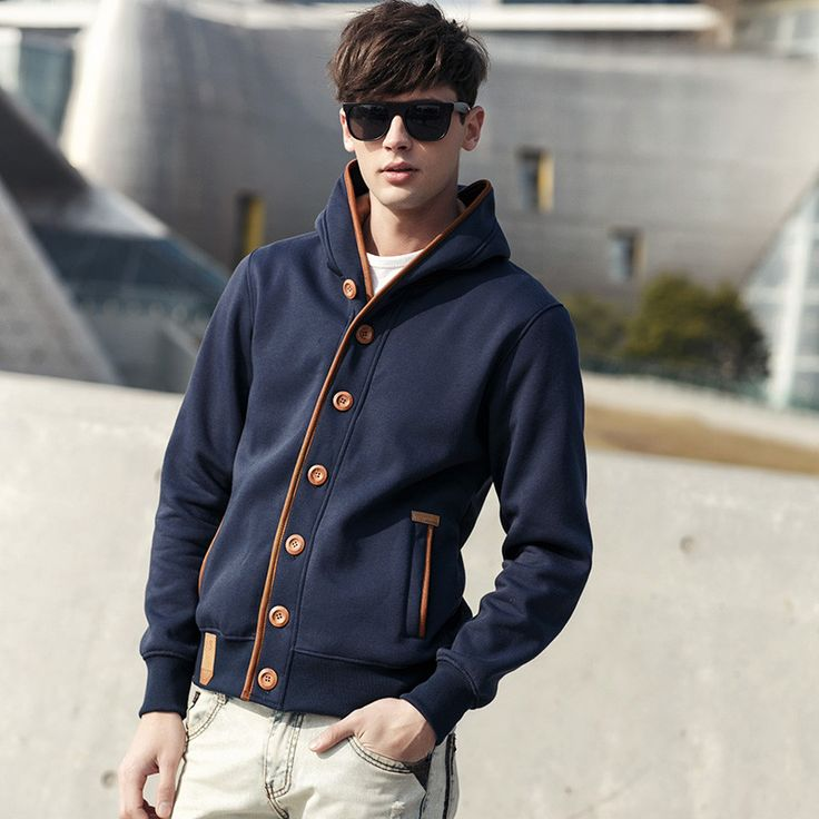 Gender: Men Item Type: Hoodies,Sweatshirts Clothing Length: Regular Closure Type: None Hooded: Yes Collar: Button Up Collar Sleeve Length: Full Sleeve Style: Regular Pattern Type: Solid Style: Fashion
