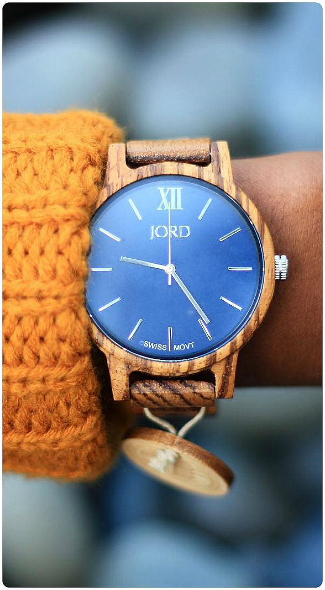 If you're going to do color, do color.   Photo @flauntyourfro of IG   Find her watch, the Frankie in Zebrawood & Navy at woodwatches.com - free shipping worldwide!