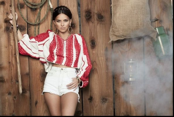 Inna in Romanian Traditional blouse