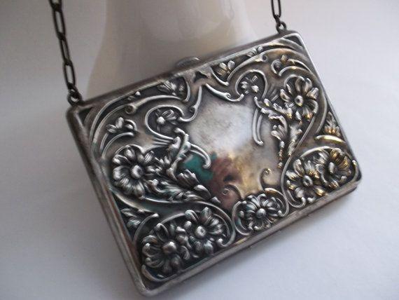 Art Nouveau Sterling Silver Purse/ Antique Silver Purse/ Silver Evening Bags/ Antique Silver Purses/ Belle Epoque Bags