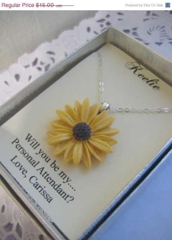 30 off SALE Sunflower Ask Bridesmaids Bridal Party by buysomelove, $10.50