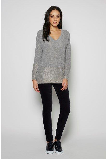Merino Foil Hem Sweater Feather Grey Marl/Rose Gold 1