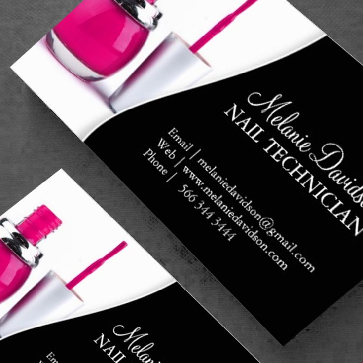 Fully Customizable nail Technician Business Cards created by Colourful Designs Inc.
