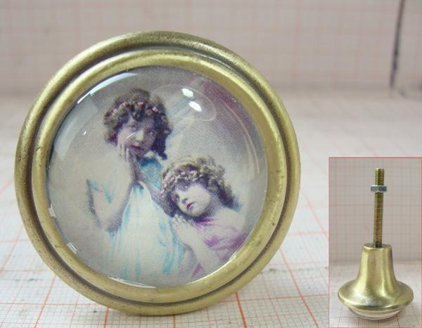 Möbelknöpfe Türknöpfe nostalgisch antik Glas Kleine Schwestern