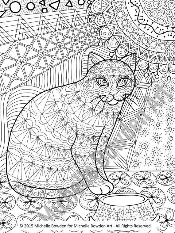 coloring page printable calico tabby cat printable zendoodle