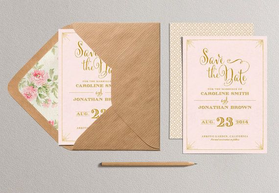 Printable Save the Date Card  Blush Pink and Gold Save by plpapers, $18.00