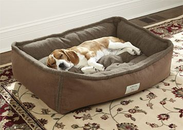 Our rectangle bolster dog bed provides a peaceful spot to sleep for your canine companion.