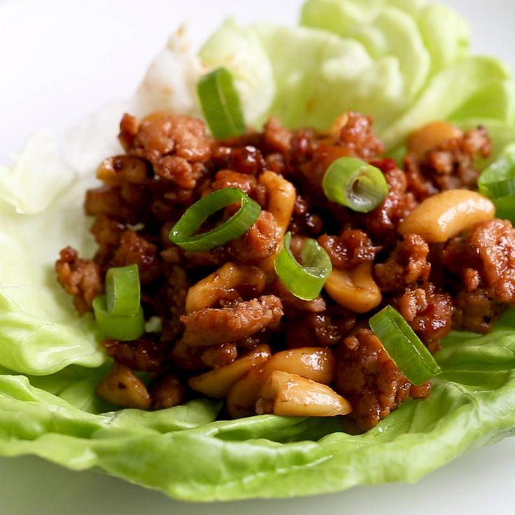 Involucri di lattuga di pollo a basso contenuto di anacardi