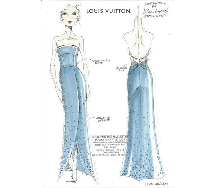 Lea Seydoux et Louis Vuitton http://www.vogue.fr/mode/red-carpet/diaporama/lea-seydoux-en-louis-vuitton-du-croquis-au-tapis-rouge/13292/image/754934