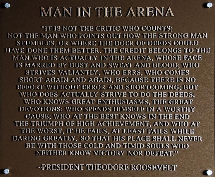A bronze plaque depicting President Theodore Roosevelt's famous April 23, 1910, speech, ""