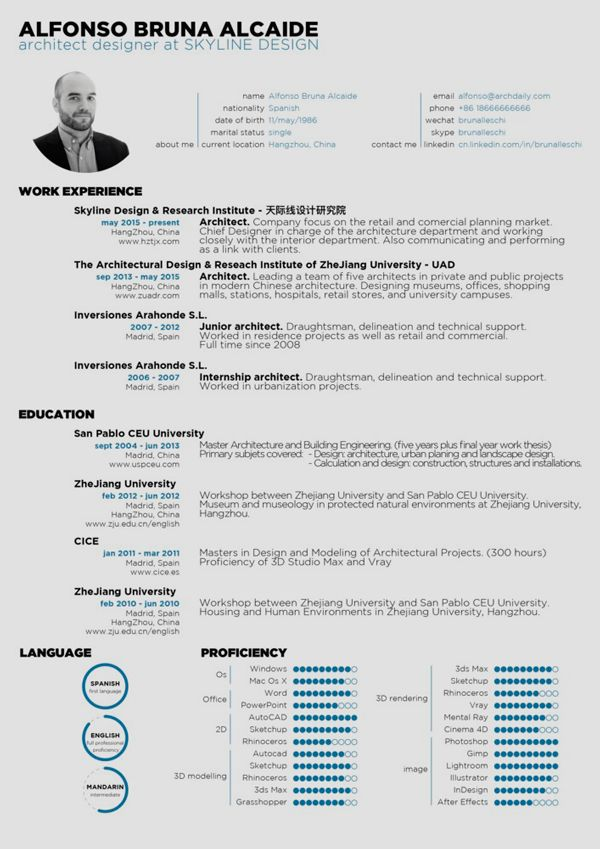 The Top Architecture Résumé/CV Designs,Submitted By Alfonso Bruna  Resume Portfolio Examples