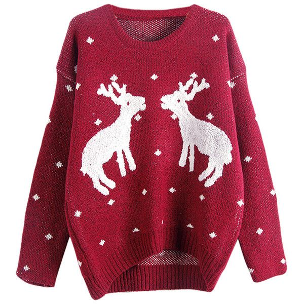 Womens Crewneck Two Reindeers Patterned Ugly Christmas Sweater Ruby found on Polyvore featuring tops, sweaters, christmas, shirts, ruby, christmas shirts, red christmas sweater, shirts & tops, red crew neck sweater and print shirts