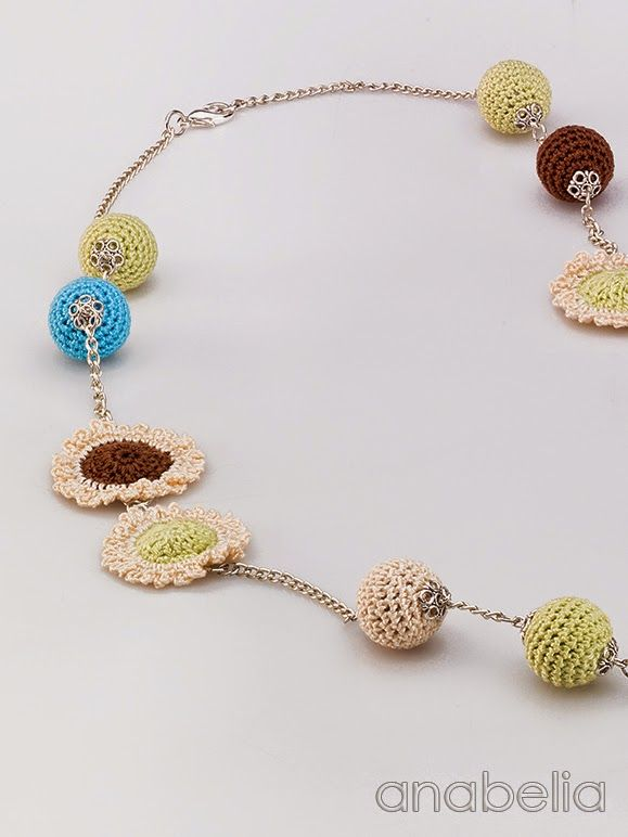 Crochet mixed motifs necklace by Anabelia
