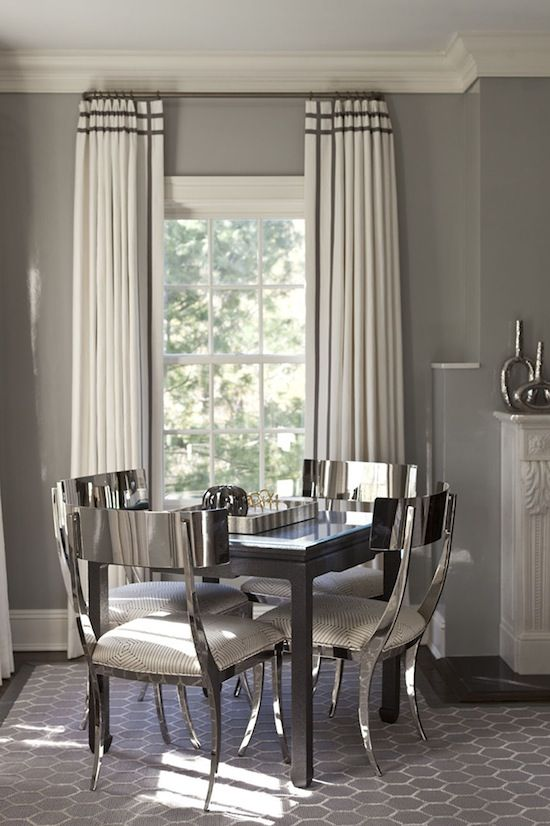 A rich style of dining room in silver decor and love the for Dining room drapes