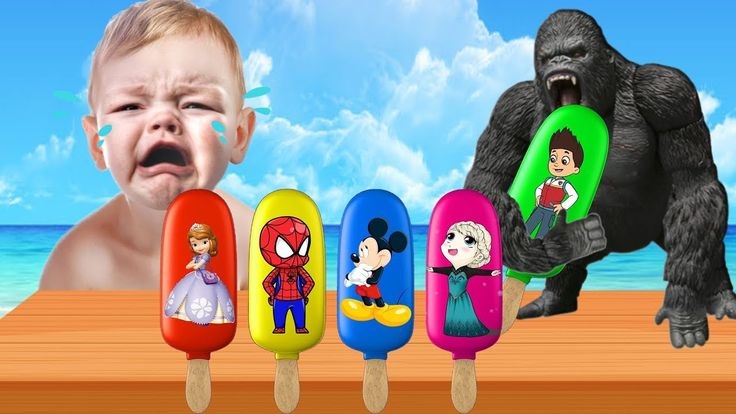 Learn Colors with Bad King Kong steals Ice Cream Spiderman Mickey Mouse ...