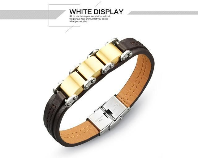 Top Cool Mens Bracelets 2017 PU Leather Bracelet Men Students Gift Gold Color Braclets for Women Pulseira De Ouro Masculina