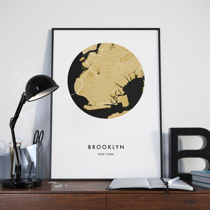 8 mejores imgenes de city map prints en pinterest mapas de la brooklyn new york city map print gumiabroncs Image collections