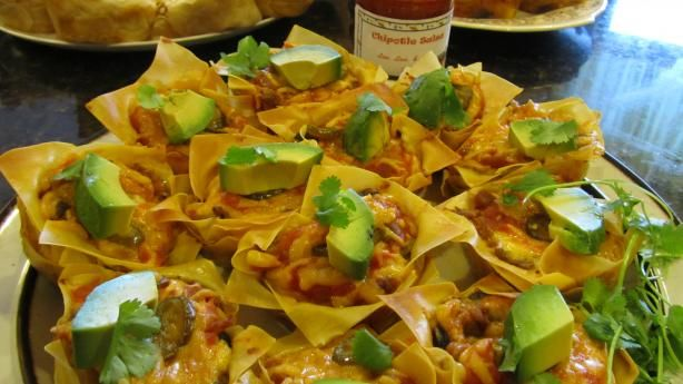 """Mexican Carnitas Cupcakes from Food.com: Good way to use up leftover shredded beef or chicken   Move over tacos, tamales, tortes, and burritos Carmita's found a new home in lasagna cupcakes!  Carnita can be found in Trader Joes already made for hours of no cooking. Carnitas  """"little meats"""","""