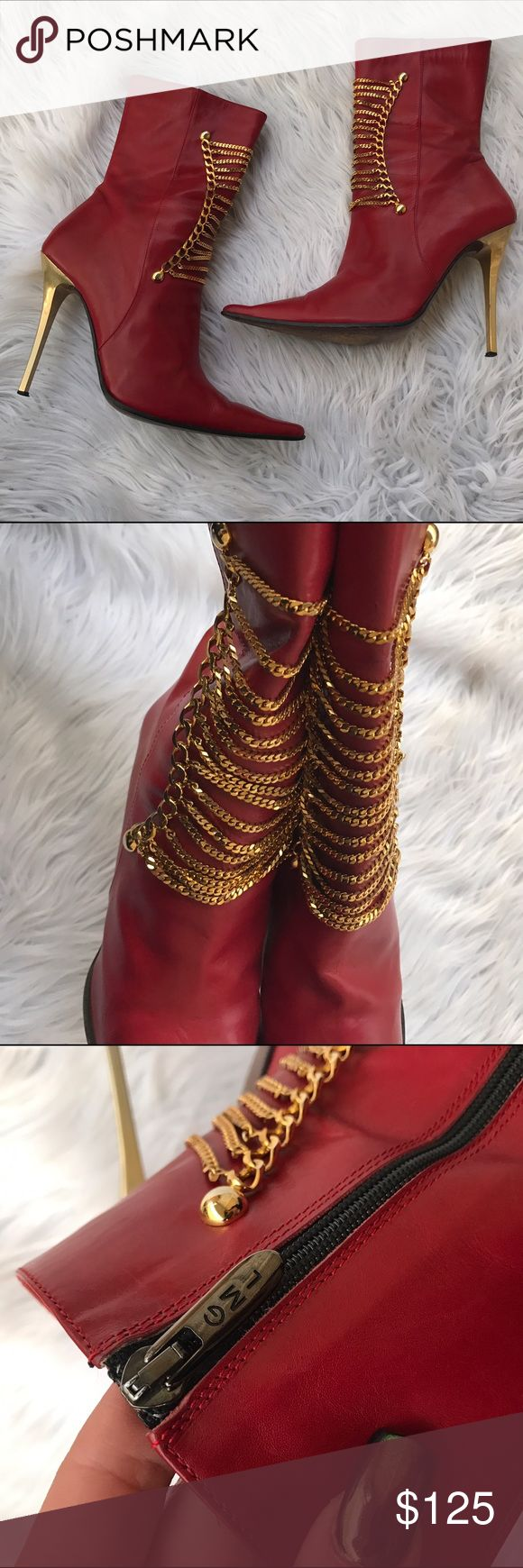 GIANMARCO LORENZI SZ 7 RED LEATHER BOOTS SHOES 100% authentic ❤️ CUTE chains on these boots Gianmarco Lorenzi Shoes