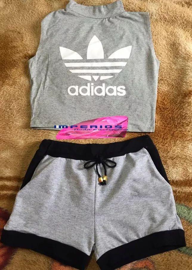 847cebdf56 conjunto feminino cropped adidas e shorts com bolso verão